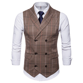 new winter short vest new plaid double-breasted vest casual vest