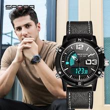 三达新款手表男学生青少年男表防水夜光运动男士潮韩版皮革电子表