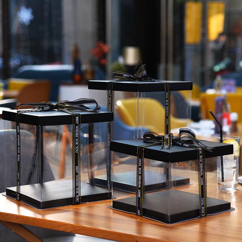 三合一透明蛋糕盒优质新款4/6/8/10/12/14寸加高芭比烘焙盒子纸盖