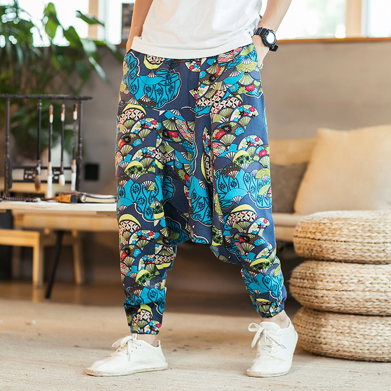 Men's casual pants with large size and low crotch