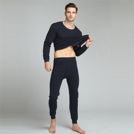 Thermal underwear plus velvet round neck suit autumn clothes long pants do not fall velvet trend men's
