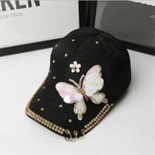 2019韩版时尚蝴蝶棒球帽 韩国帽子女士潮款鸭舌帽弯沿遮阳帽个性
