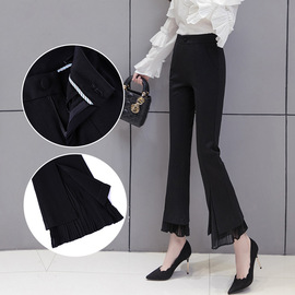 The new spring and autumn slim, high waist, micro-horn trousers, women's skinny splicing trousers, casual trousers, women's trousers, trousers.