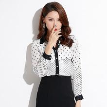 2019春季新款品牌女装波点长袖衬衣洋气雪纺小衫chic气质衬衫女