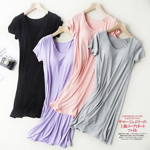 Modal short-sleeved nightdress pajamas with chest pads free bra thin large size home dress female summer home service