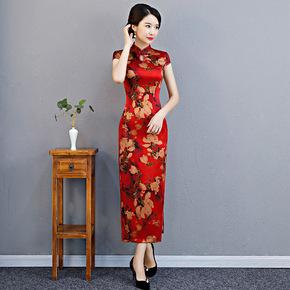 2019 New Retro mulberry silk cheongsam red long silk cheongsam skirt daily Chinese wedding mother dress