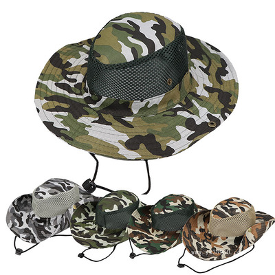 Outdoor big eaves sunscreen hat camouflage hat fisherman hat fishing hat cheap hat mountaineering hat Benny hat country