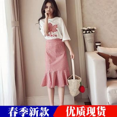 2018夏季新款韩版荷叶边半身裙套装女装时尚小清新连衣裙两件套潮