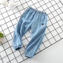 2018夏季新品童裤中小童防蚊裤刺绣运动休闲长裤男童天丝牛仔裤