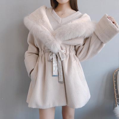 【黛珊】2018秋冬女装新品丝绒带狐狸毛棉被毛呢大衣外套女