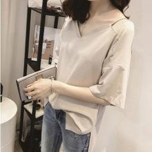 2019夏季新款短袖t恤女韩版宽松大码吊带露肩中长款上衣女潮