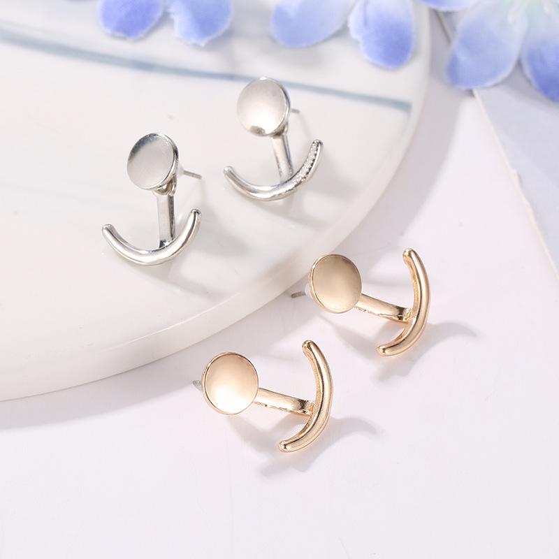 Hot sale simple sun moon earrings women sweet earrings alloy gold and silver earrings NHCU196706
