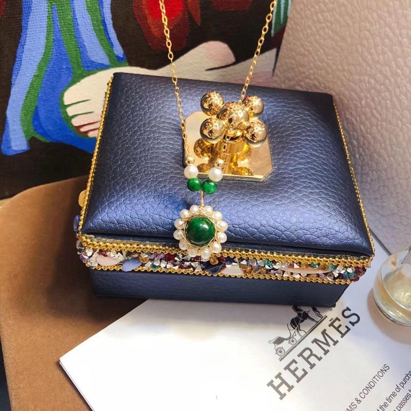 欧美时尚进口包14K金绕线编织天然淡水珍珠翡翠项链