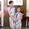 亲子装 母女装儿童旗袍古装汉服修身连衣裙改良亲子母女装