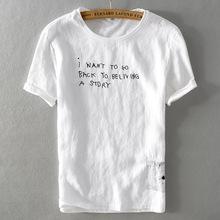 男式薄款男式棉麻体恤圆领宽松拼接麻棉短袖t恤透气一件代发