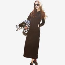 連帽休閑長款衛衣女外套加絨春秋冬長袖修身韓國帽衫套頭顯瘦長裙