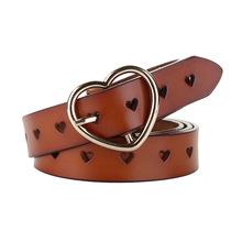 Phụ nữ mới thắt lưng da thời trang pin khóa thắt lưng đơn giản tình yêu hoang dã rỗng trang trí vành đai mỏng vành đai bán buôn Pin khóa thắt lưng