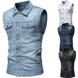 approved for autumn and winter new classic washed hole men's casual sleeveless denim vest J04