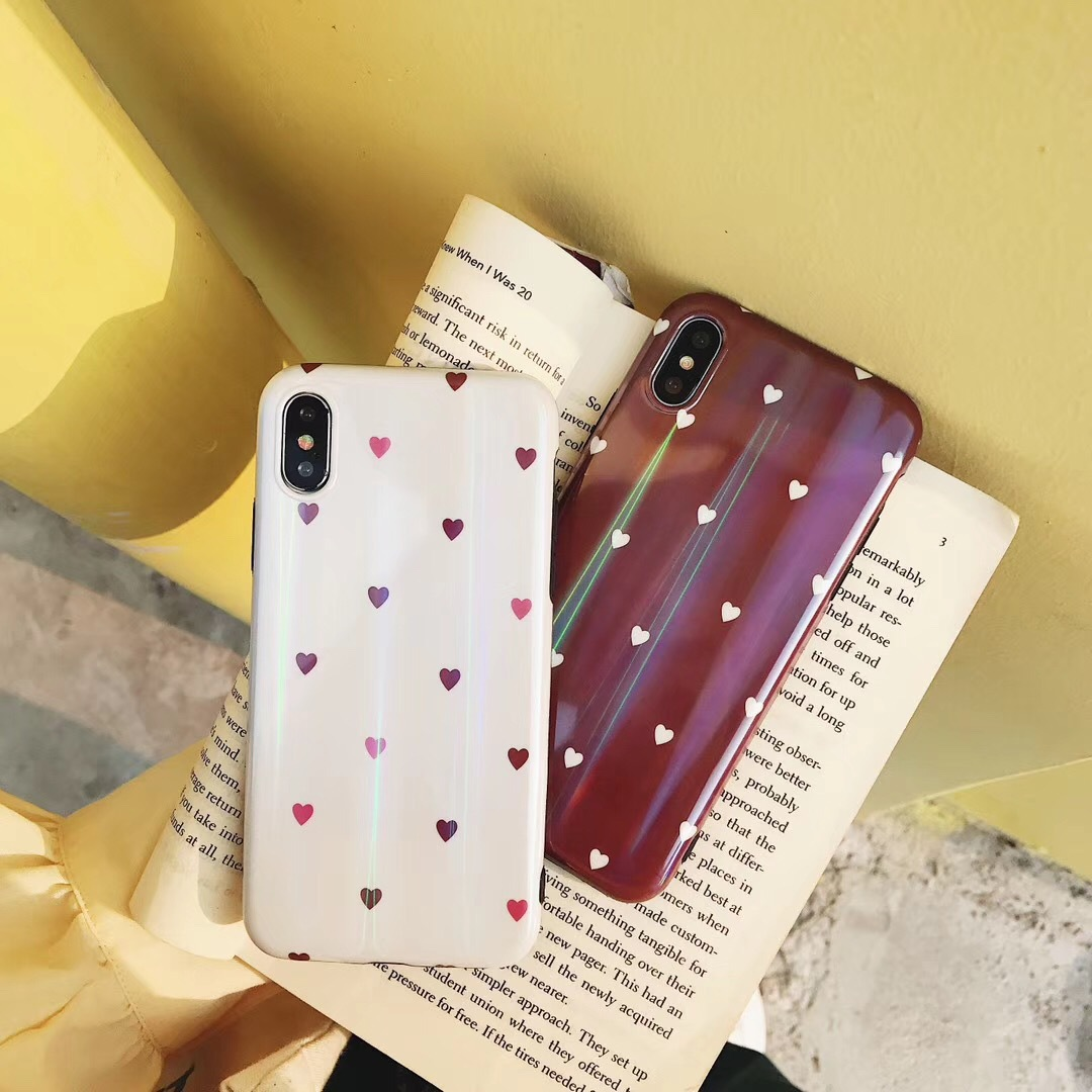 Small fresh Aurora love Apple X mobile phone shell iPhone7plus soft shell 6splus laser 8x personality female models