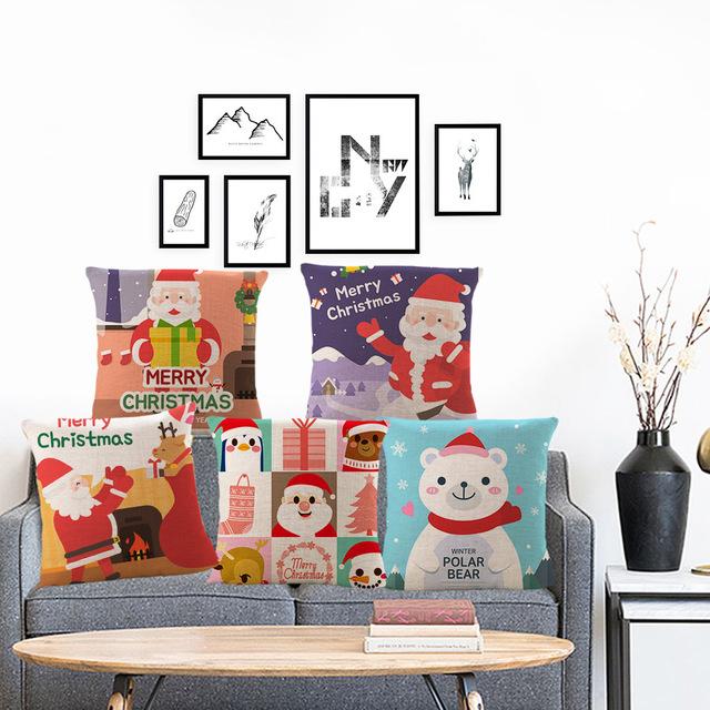 圣诞节新年礼物亚麻抱枕汽车靠垫家居靠背抱枕套来图定制 不含芯