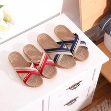厂家直销夏季亚麻拖鞋居家新款防滑软底静音木地板eva情侣凉拖冬