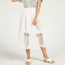 2019夏季新款拼接荷叶边纱裙半身裙 女式韩版中长款百搭蓬蓬裙子