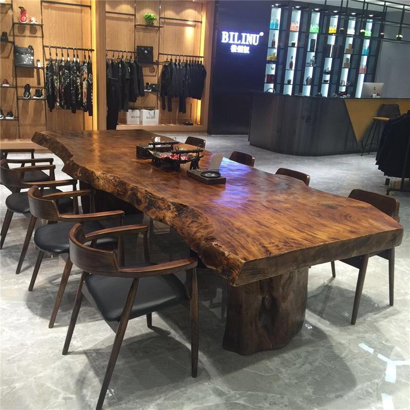 美式复古大厅接待实木不规则茶桌茶叶店办公室自然边整板大板桌子