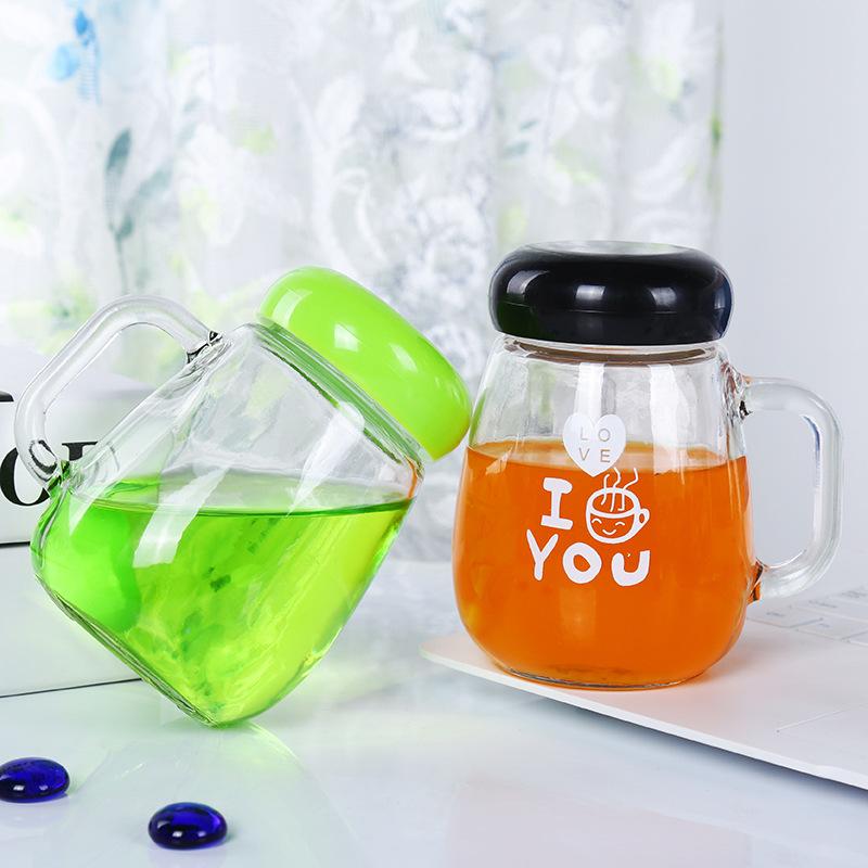 牛奶把子杯透明玻璃杯休闲吧过滤花茶杯办公泡茶水杯定制logo批发