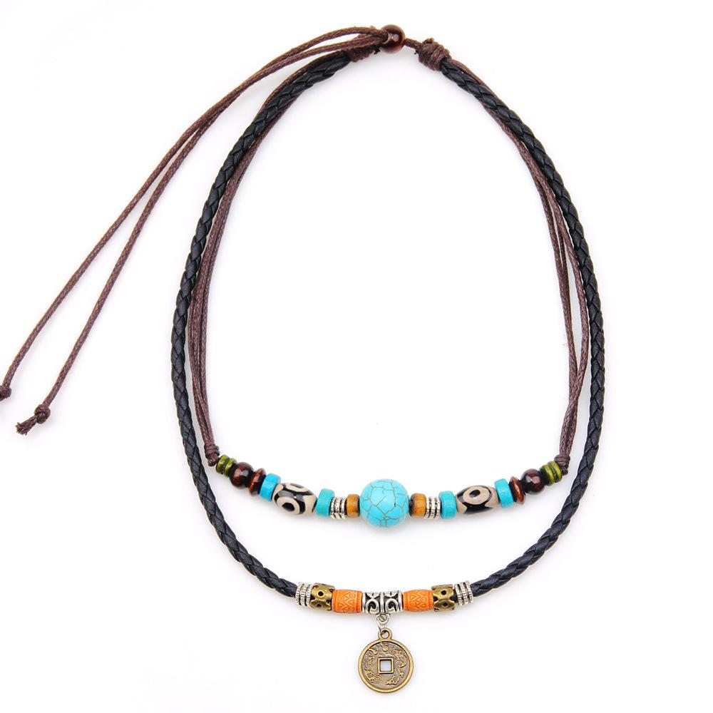 厂家直销批发 欧美绿松石个性复古钱币吊坠项链 简约男式项链饰品