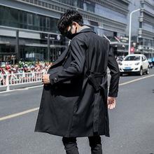 19秋冬季男士韩版修身风衣休闲英伦双排扣翻领中长款披风外套大衣