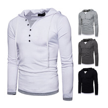 Spring foreign trade new fashion men's hooded long-sleeved stitching T-shirt sports hoodie B07