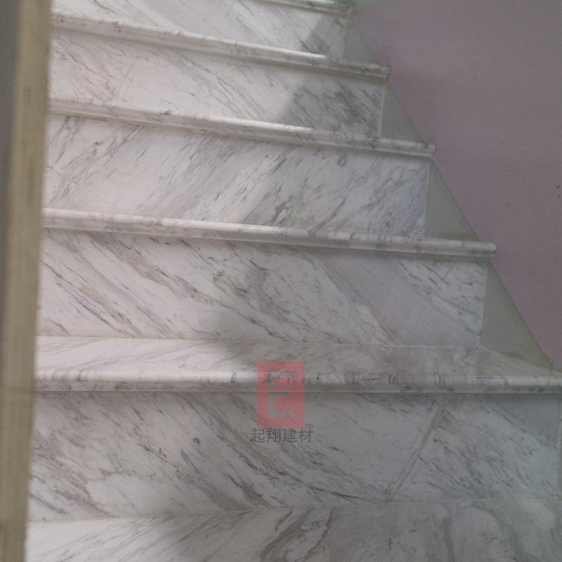 天然爵士白专业户供应希腊FHL正矿爵士白大理石楼梯踏步旋转楼梯