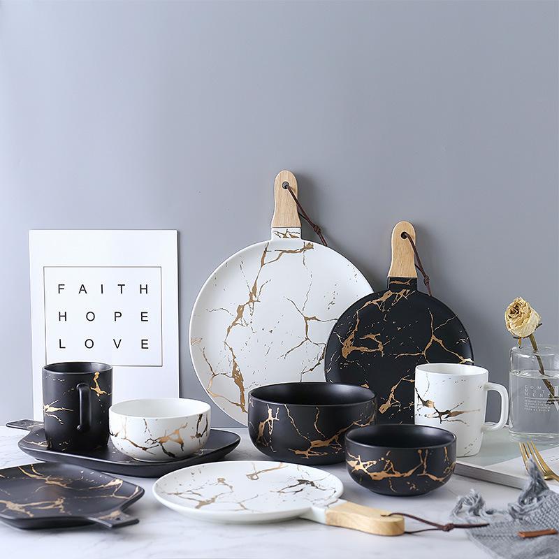 美辰达 大理石纹哑光金陶瓷餐具盘碗碟套装 饭碗菜盘面碗简约盘碗