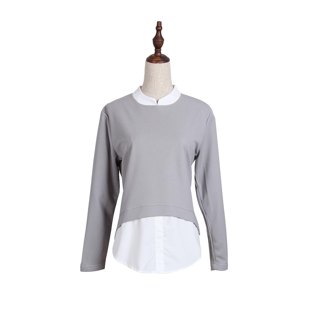 2021春秋女装新款大码拼接长袖假两件立领气质女式衬衫 JR786