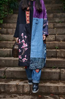 14烟色被色阁原创设计  女装 老绣老蜡染真丝棉袄 外套
