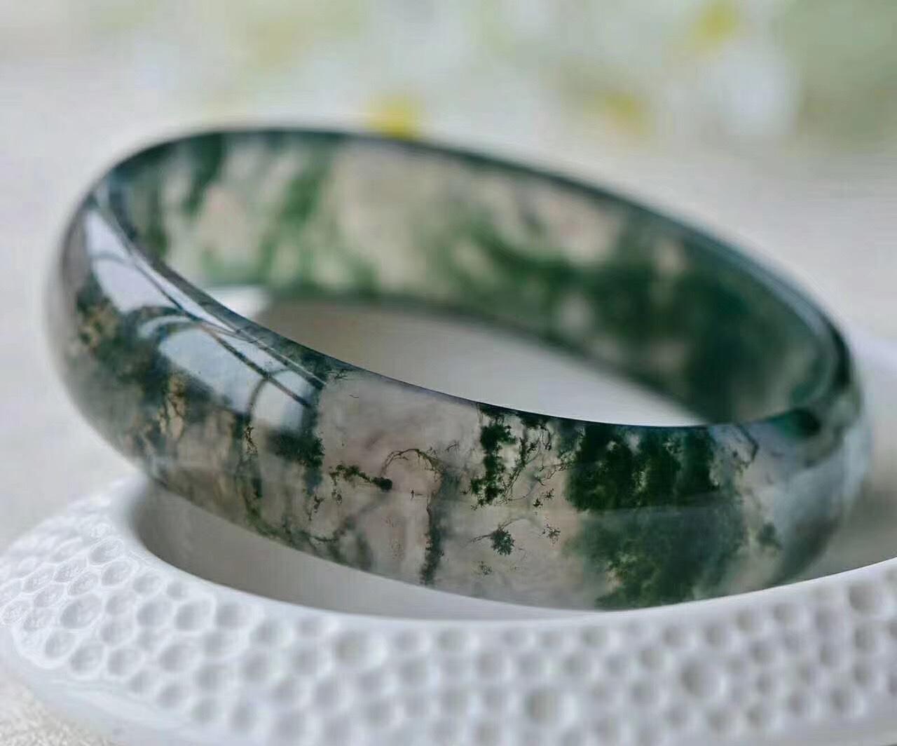天然原色印度水草玛瑙玉髓手镯玻璃种玛瑙镯子女款苔藓玛瑙玉镯
