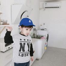 2018秋装儿童条纹字母卫衣韩版中小童男女童宝宝长袖拼色打底衫