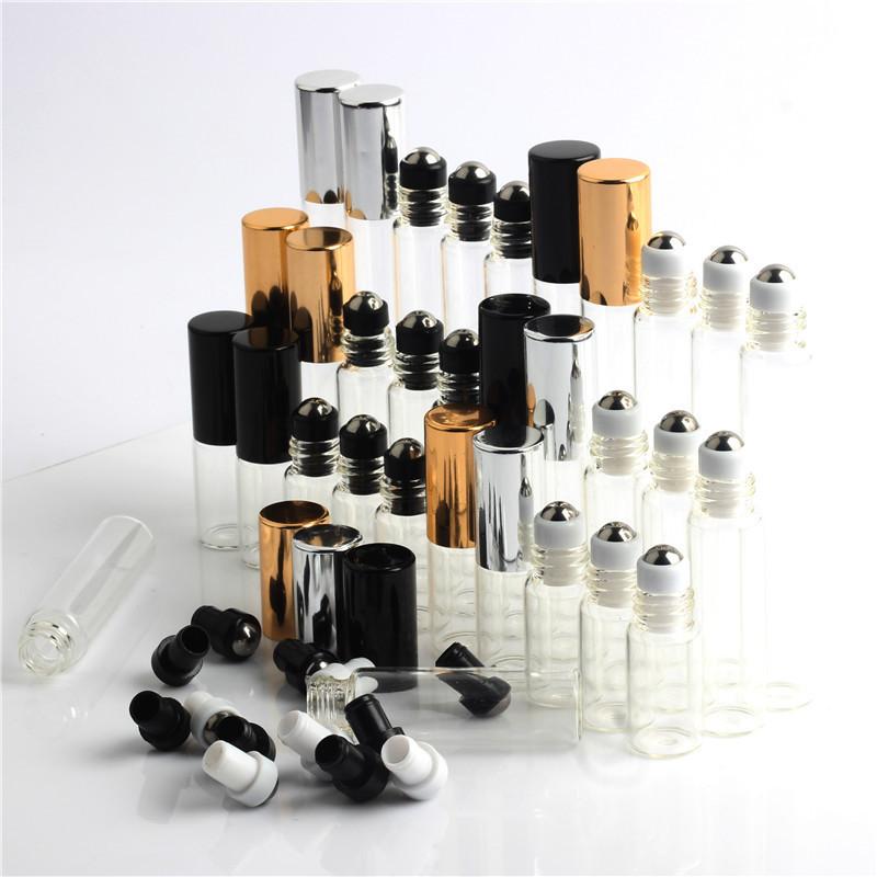 现货茶色滚珠瓶3 5 10ml 香水分装走珠精油玻璃瓶电镀盖304钢珠