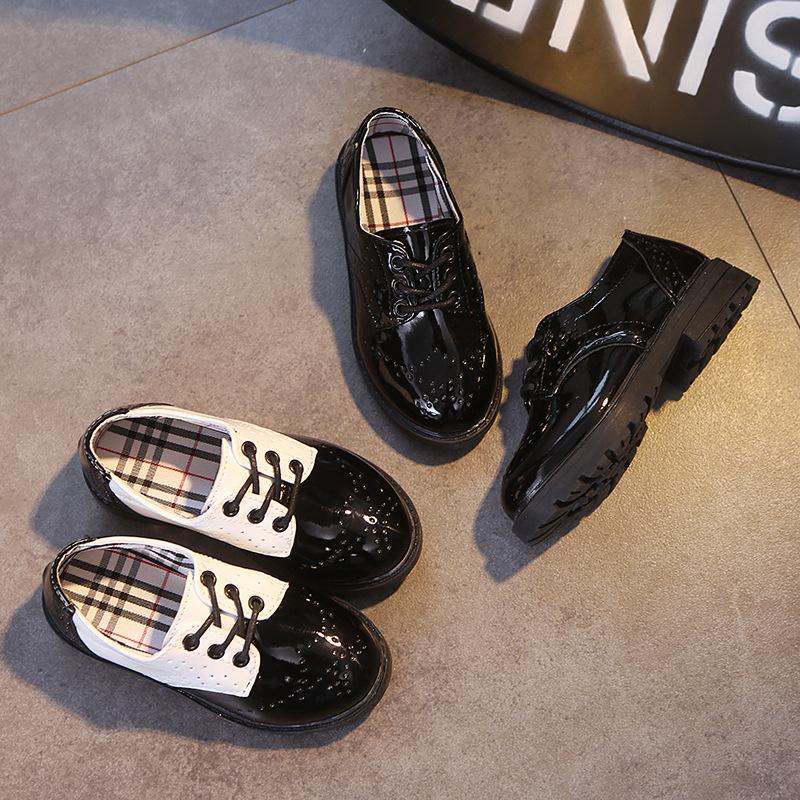 2019新款儿童皮鞋学生表演鞋系带时尚女童漆皮单皮鞋童鞋男童皮鞋