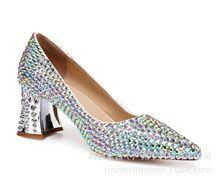 厂家直销欧美时装女鞋纯手工订制粗跟彩钻水晶中跟浅口新娘单鞋