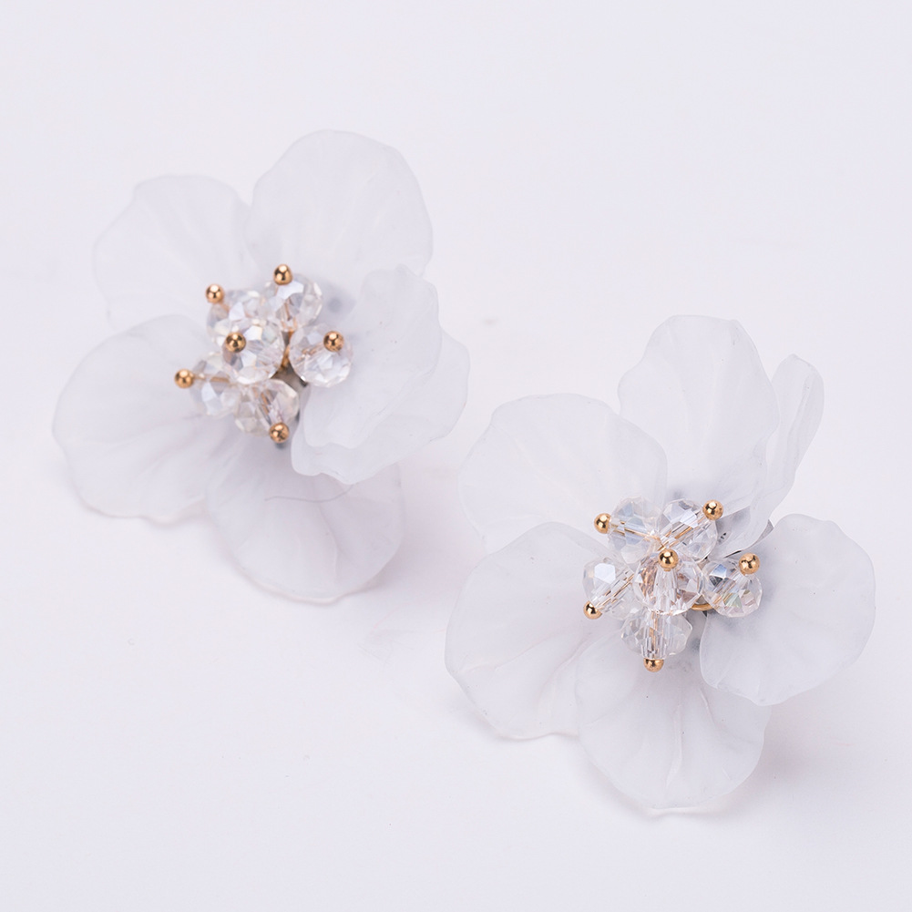 Alloy Fashion Flowers earring(white) NHJE1257-white