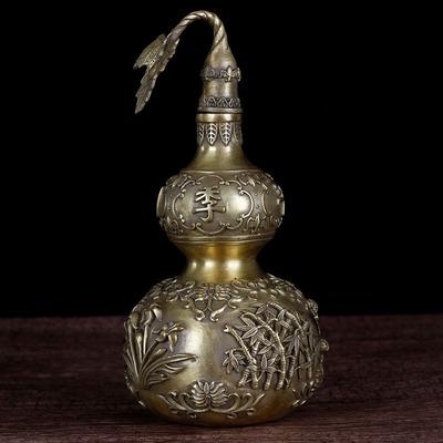 铸铜家居装饰品招财摆件铜葫芦 客厅书房摆设纯铜风水铜葫芦摆件