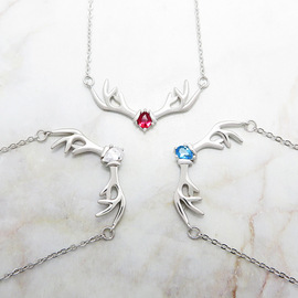 Mori Series A Deer You Sterling Silver Necklace Elk Girl's Pendant Fashion Choker, Korea Antlers 925 Silver Jewelry