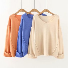Large size women's wear autumn new sweater fat mm lose age loose show thin V-neck knitted cardigan 1939