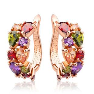 Cross-border sources Europe and America hot sale Mona Lisa crystal zircon earrings fashion rose gold earrings zircon ear jewelry