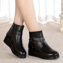 冬季加绒大码女式棉皮鞋平跟羊毛短靴软底休闲舒适中老年妈妈棉鞋