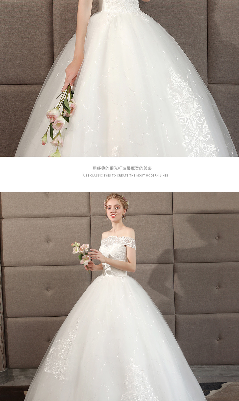 Wholesale One Shoulder Wedding Dress New Palace Princess Show Thin Large Size Simple And Light Out The Gauze Girl