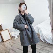 2018秋冬毛呢大衣短款人字纹双面尼小个子女士羊毛外套显瘦韩版新
