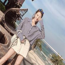 夏季新款 个性吊带竖条纹露肩衬衫 女 长袖宽松韩版衬衣潮牌