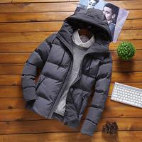 Прямые продажи на заводе зимний мужской стиль хлопок одежда корейская версия Твердый цвет хлопок одежда для отдыха модные фасон средней длины стиль приталенный капюшон толстая куртка